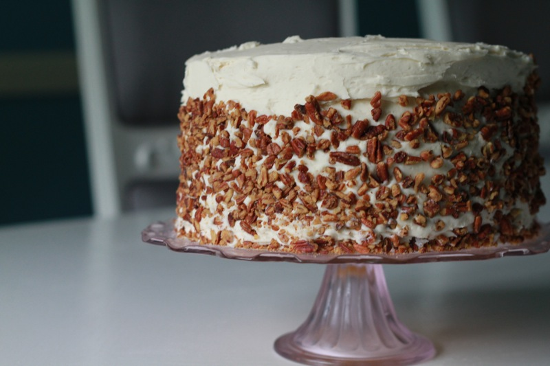 Pecan Cake with Bourbon Cream Cheese Frosting for my sister