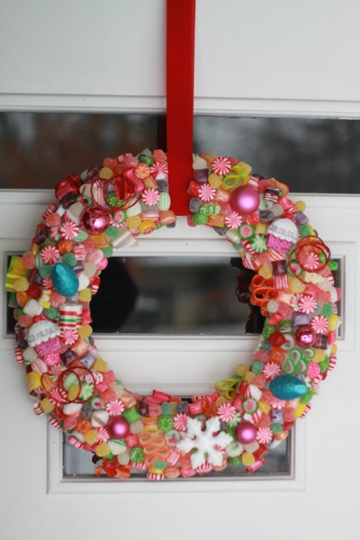 i simply bought a wreath form lots of candy and some ornaments and started gluing away i still need to shellac it but i couldnt