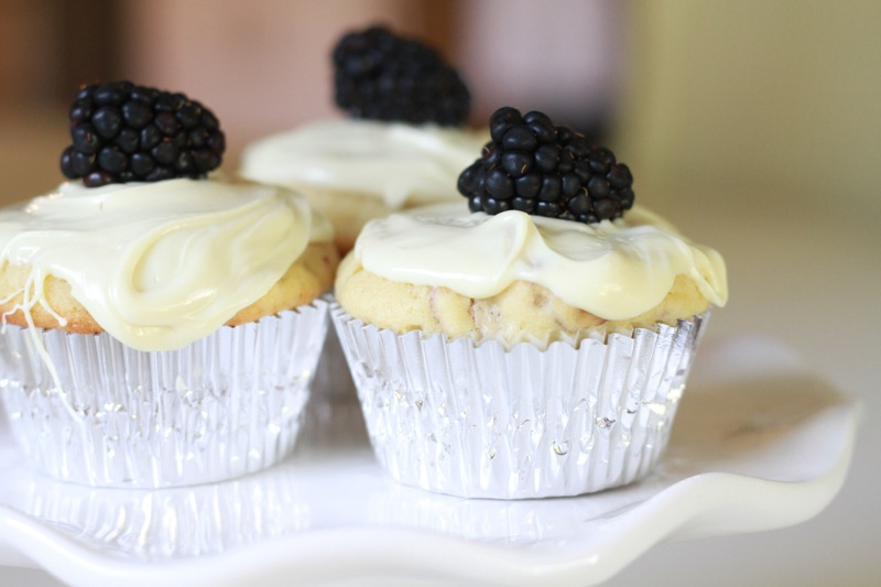 Blackberry, Almond and White Chocolate Muffins
