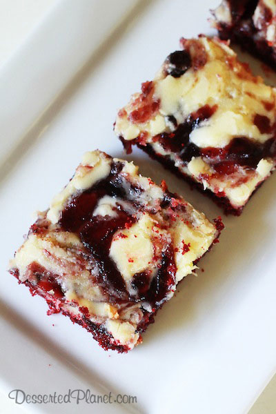 Red Velvet and Blueberry Ooey Gooey Butter Cake