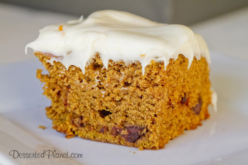 Spiced Pumpkin Cake with Orange Cream Cheese Frosting