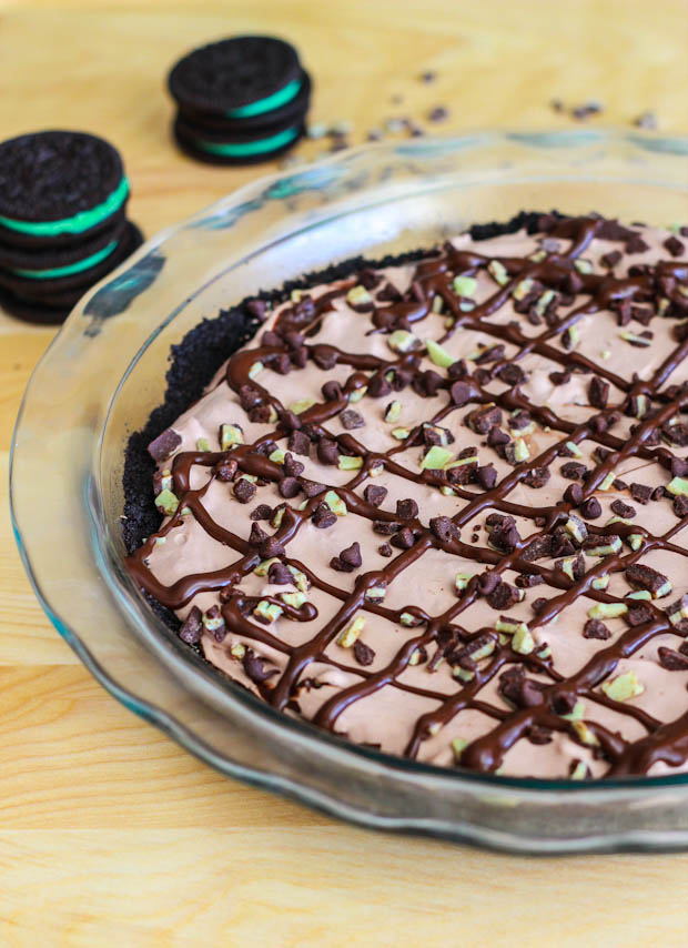 Skinny Frozen Mint Chocolate Pie