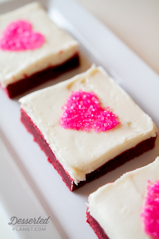 Red Velvet Sugar Cookie Bars with Pink Hearts