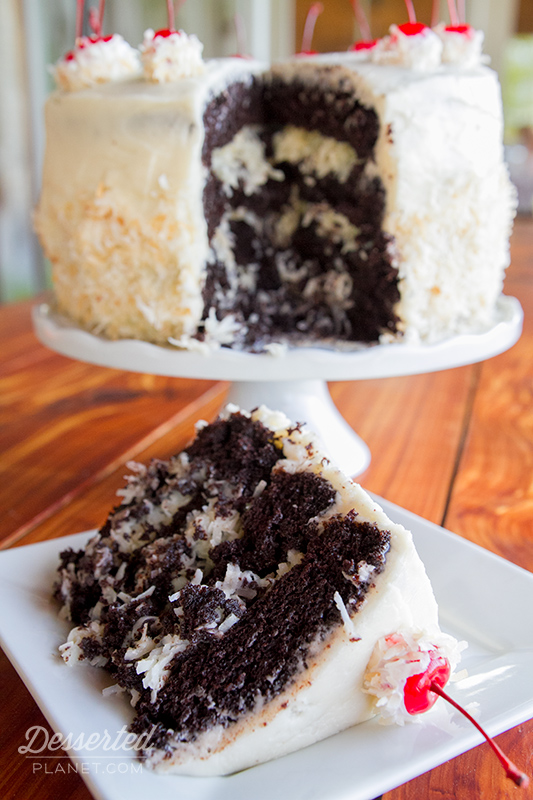 Coconut Rum Dark Devil's Food Layer Cake – DessertedPlanet.com