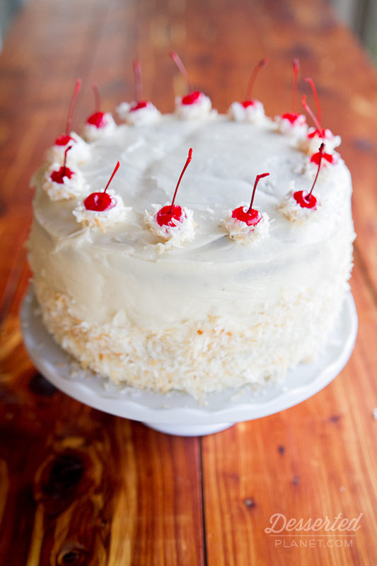 Coconut Rum Dark Devil's Food Layer Cake
